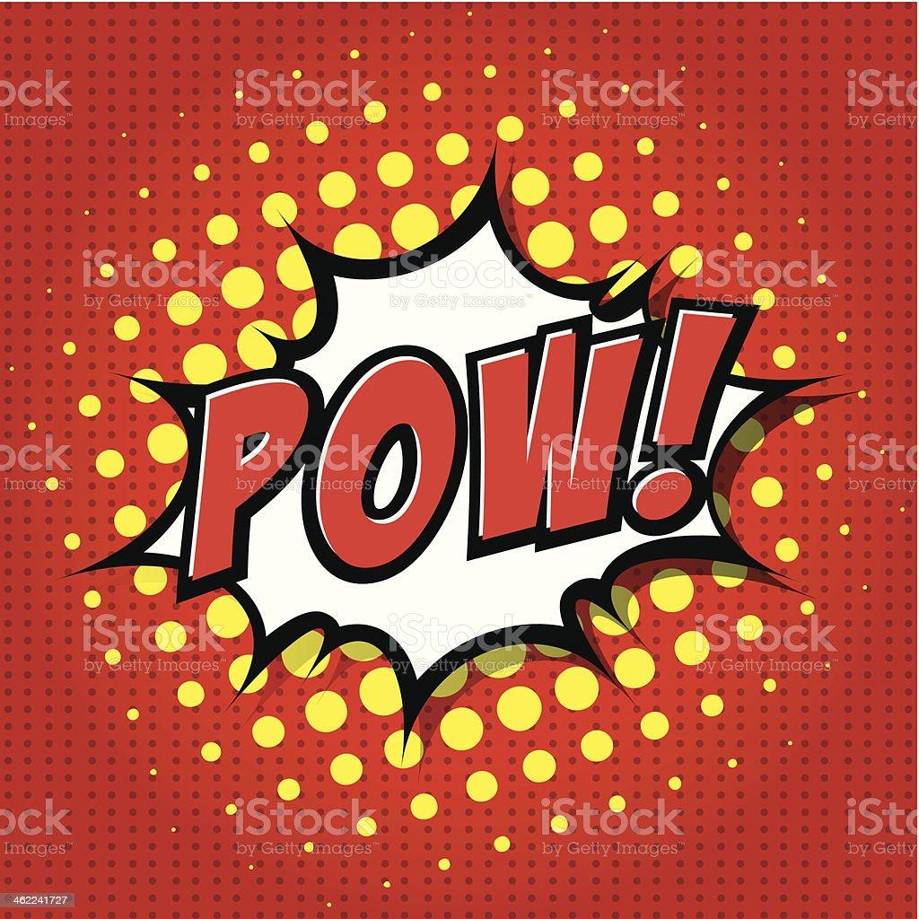 A red and yellow cartoon comic speech bubble - POW! vector art illustration