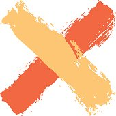 Red and yellow cross shape brush stroke delete sign