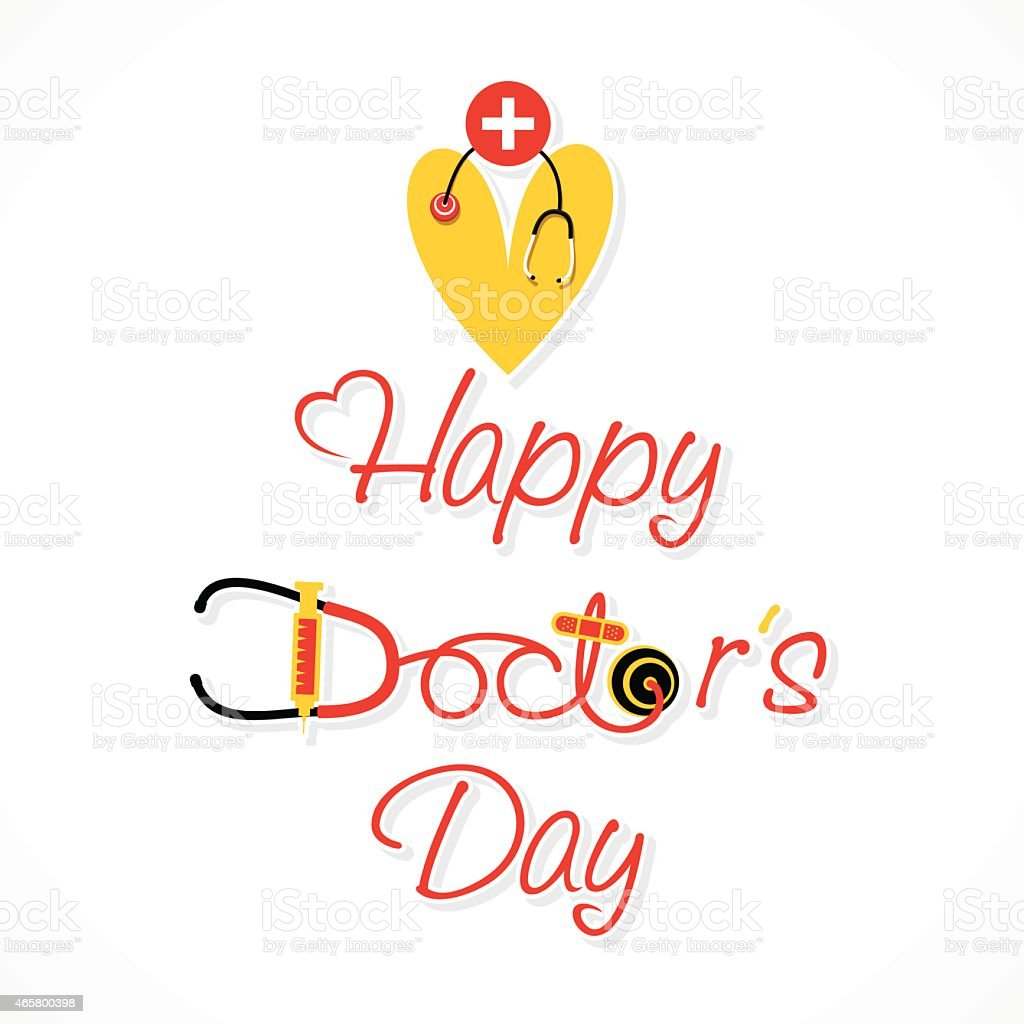 Red and yellow doctor's day design on a white background vector art illustration