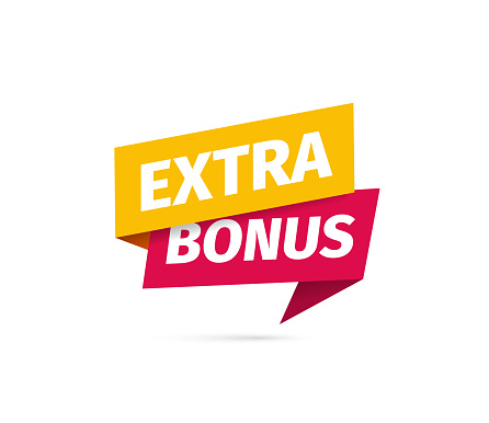 Red and yellow extra bonus isolated vector icon on white background.