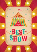 Red and yellow retro circus poster