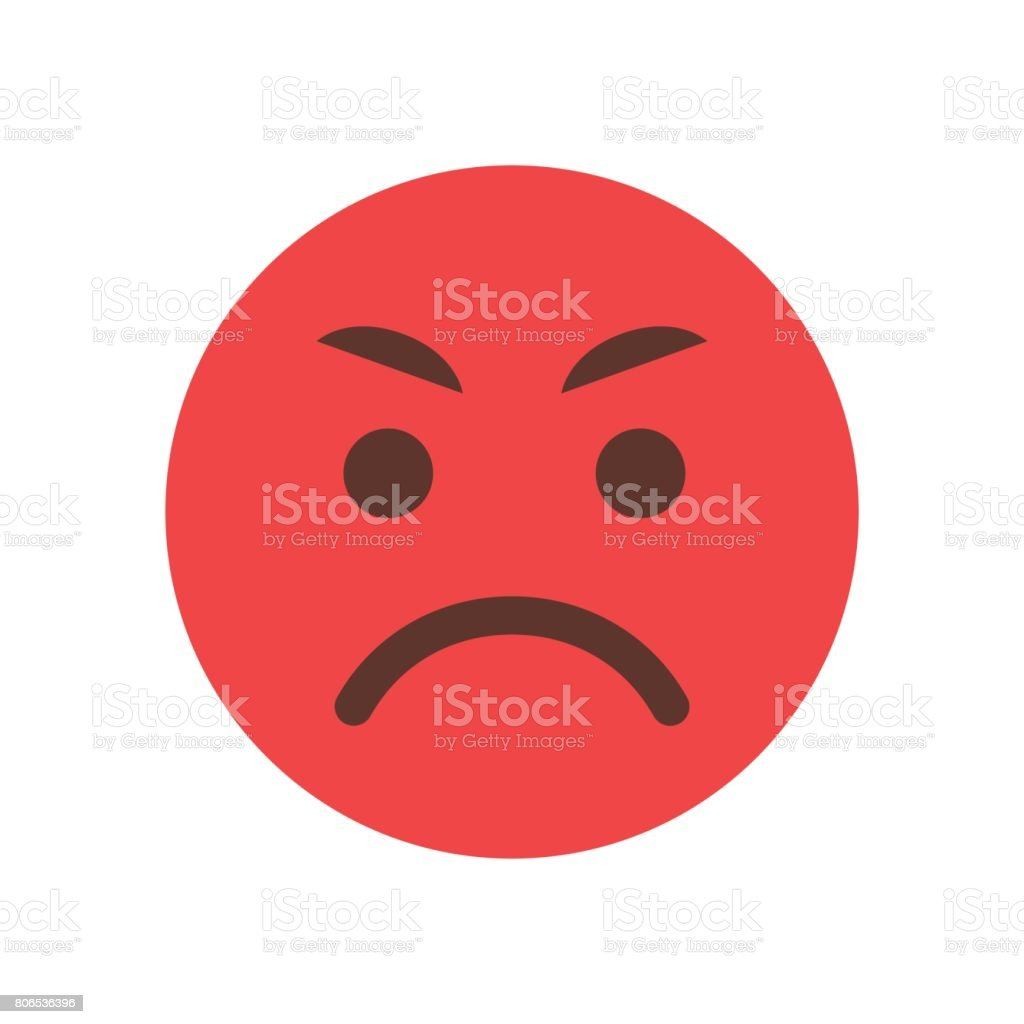 Red Angry Cartoon Face Emoji People Emotion Icon vector art illustration