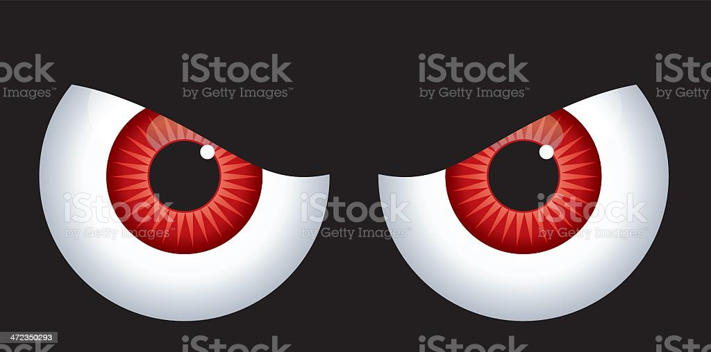 Red Angry Eyes vector art illustration