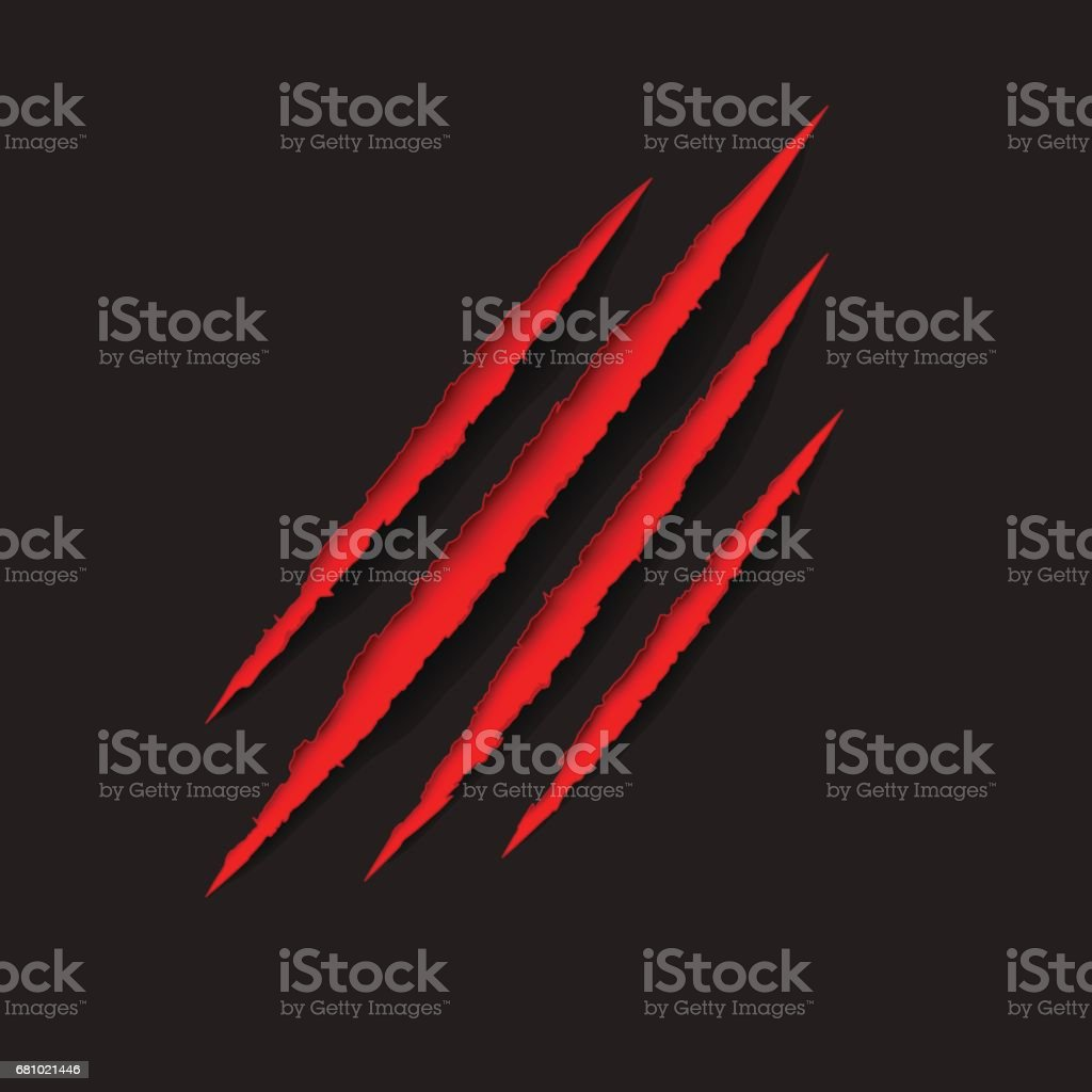 Red animal, monster claws scratches on black background. royalty-free red animal monster claws scratches on black background stock vector art & more images of animal