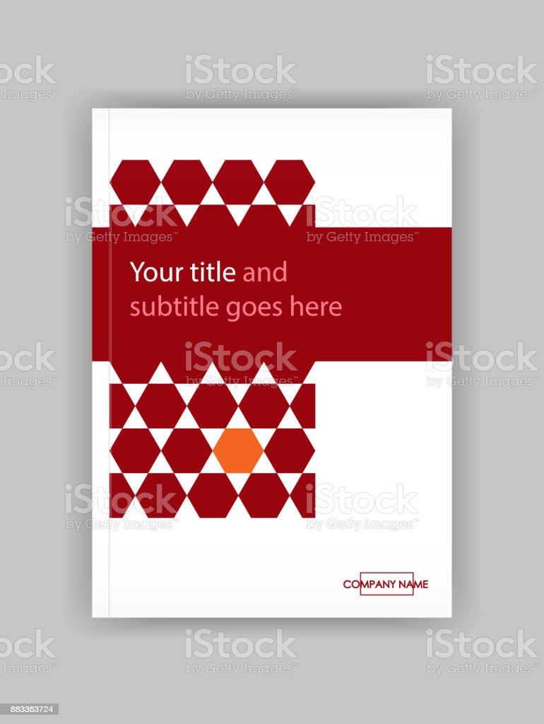 Rot Jahresbericht Mit Geometrischen Figuren Sechseck ...