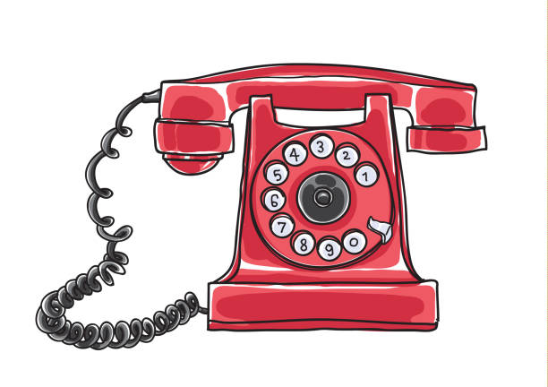 red Antique Rotary Dial Telephone hand drawn vector art illustration vector art illustration