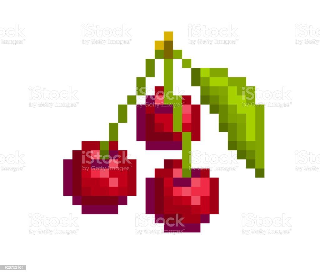 3 Cerises Appétissantes Rouges Avec Feuille Isolé Sur Fond