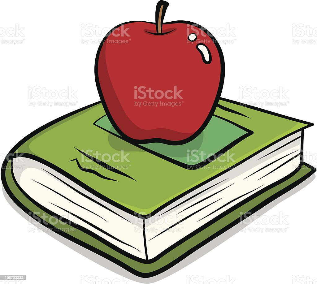 red apple and a book royalty-free stock vector art