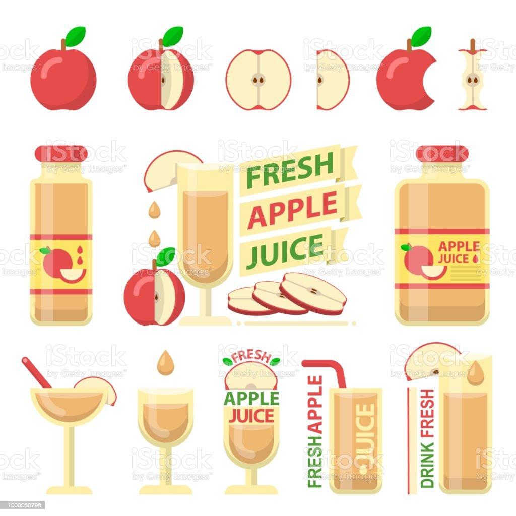 Roter Apfel und frischen Saft flache Vektorelemente – Vektorgrafik