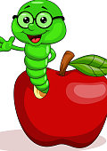 Red apple and funny worm