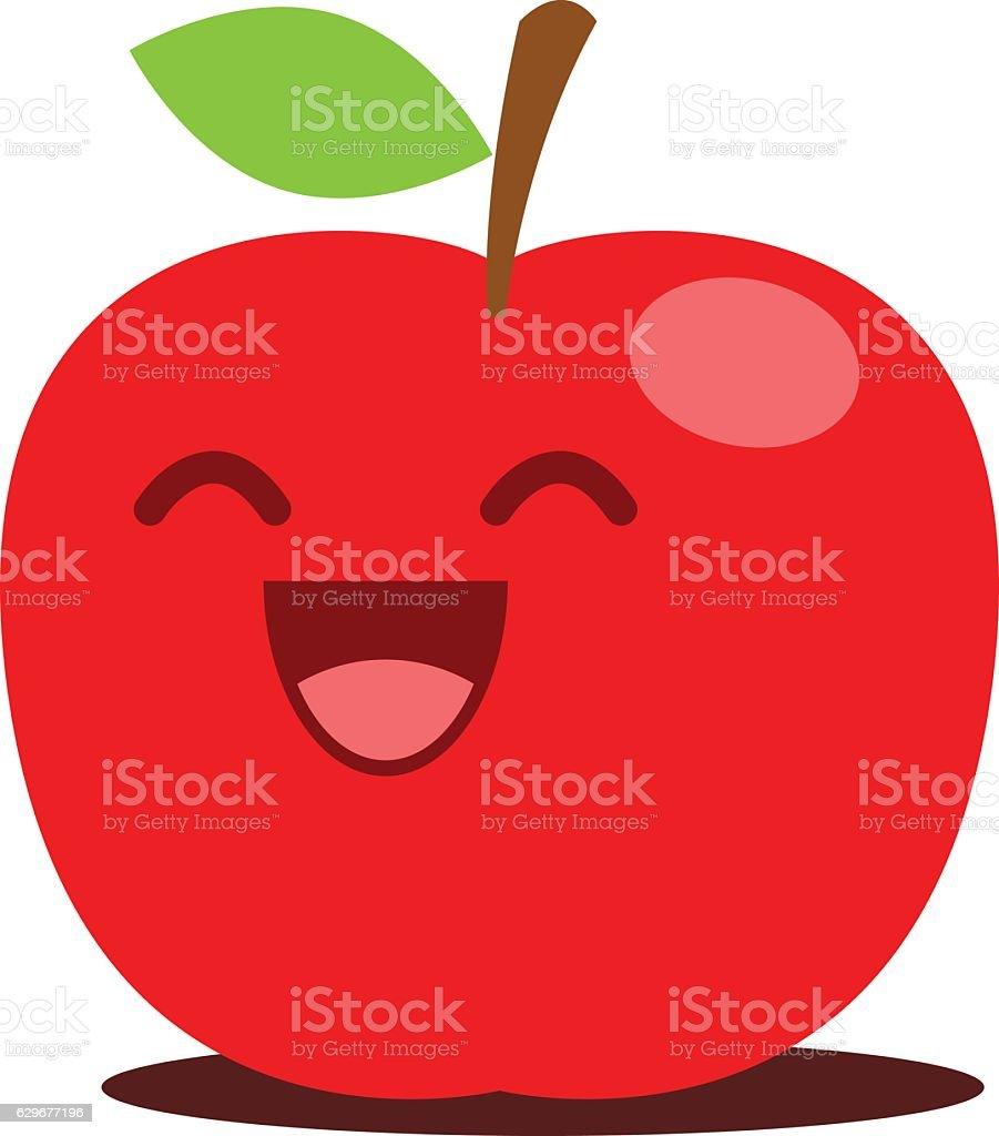 Red apple cute cartoon illustration vector art illustration