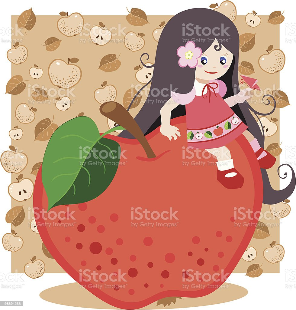 Red apple girl royalty-free red apple girl stock vector art & more images of admiration