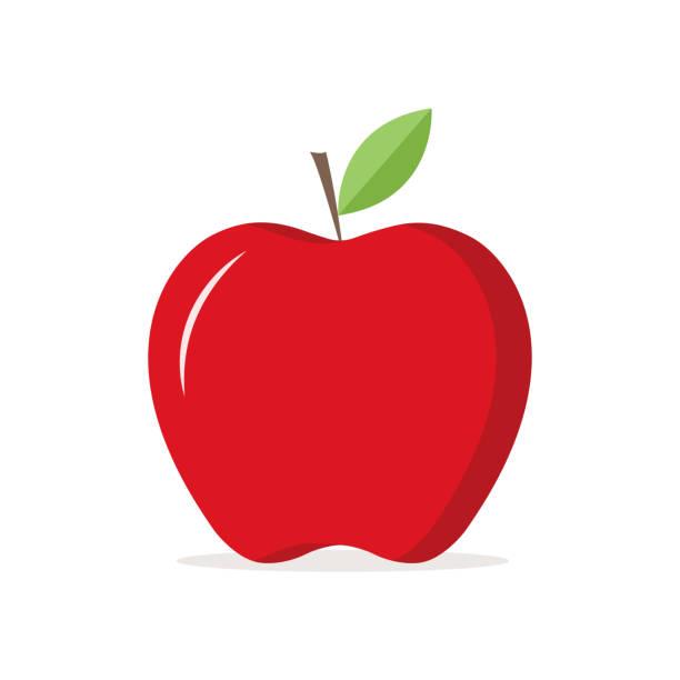 illustrazioni stock, clip art, cartoni animati e icone di tendenza di red apple illustration icon vector - mela
