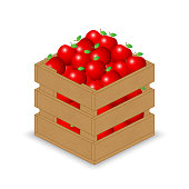 Red apple in wooden crate
