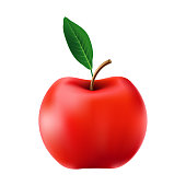 istock Red apple isolated on white background. Vector illustration. 1316051820