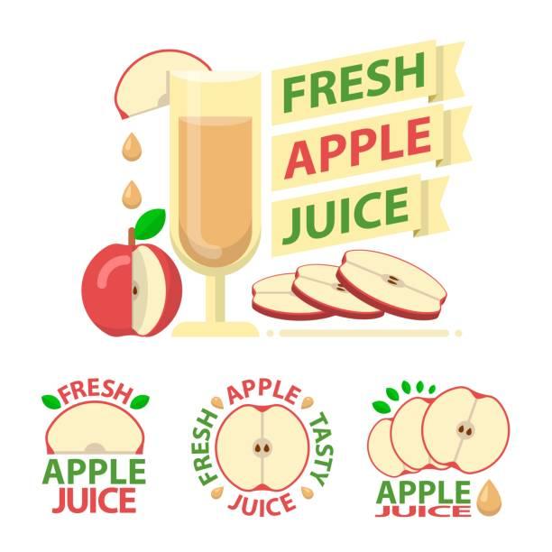 Roter Apfel Saft Abzeichen Embleme – Vektorgrafik