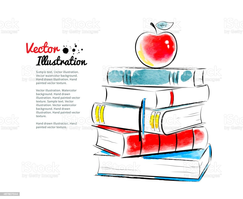 Red apple on books. vector art illustration
