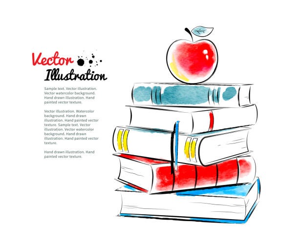 Red apple on books. Red apple on books. Vector watercolor illustration. elementary age stock illustrations