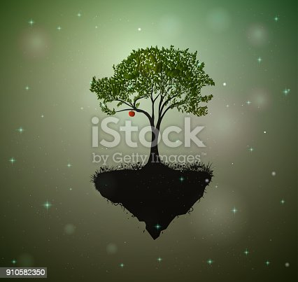 red apple on the fairy tree, tree in the fairyland surrounded with fireflies, vector