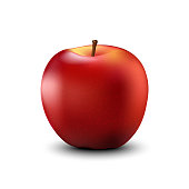 Red apple realistic detailed 3d illustration isolated on white. Vector.