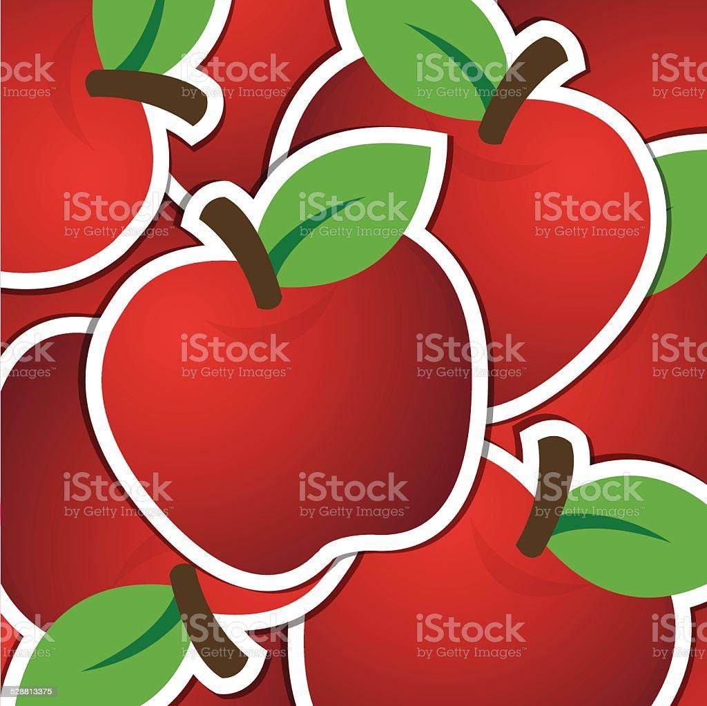 Apple Di Sfondo Rosso Etichettacarta In Formato Vettoriale