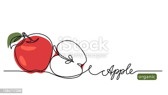 istock Red apple vector illustration. One continuous line drawing art illustration with lettering organic apple 1284717336