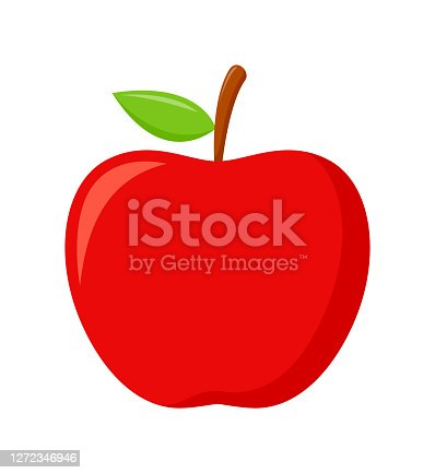 istock Red apple with green leaves isolated on white background, flat design, fruit vector illustration 1272346946