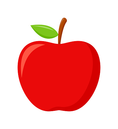Red apple with green leaves isolated on white background, flat design, fruit vector illustration