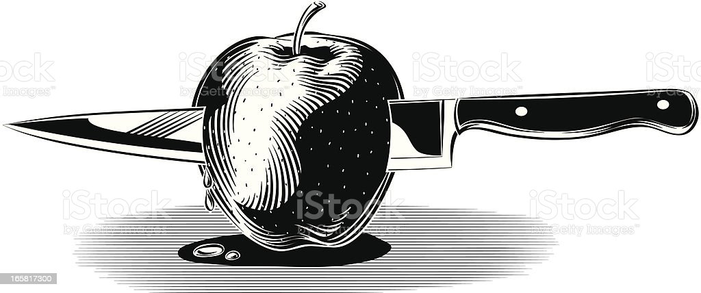 Red Apple with knife royalty-free red apple with knife stock vector art & more images of apple - fruit