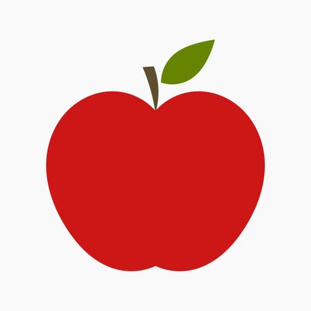 Red apple con hoja - ilustración de arte vectorial