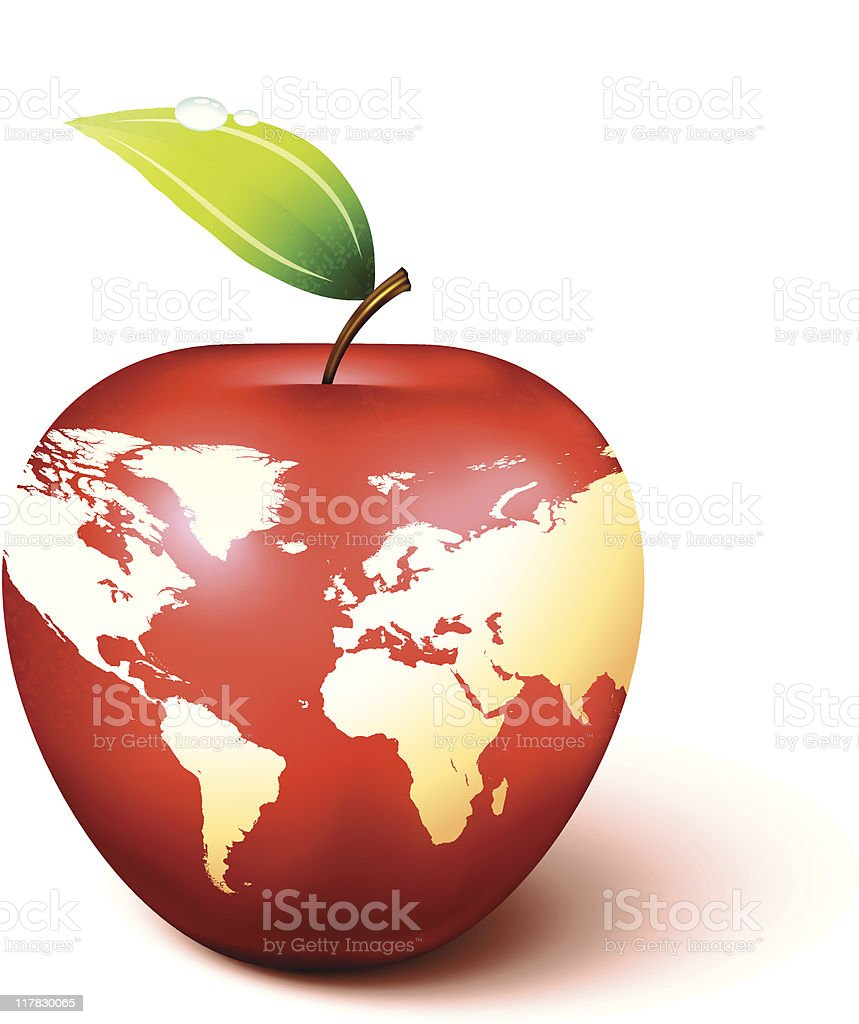 Red apple world map royalty-free stock vector art