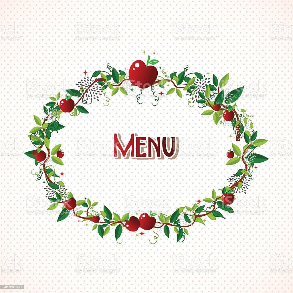Red apple wreath illustration vector art illustration