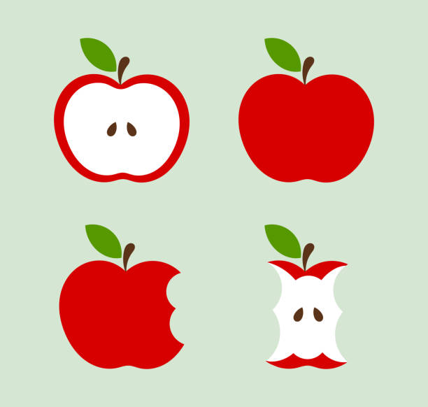 illustrazioni stock, clip art, cartoni animati e icone di tendenza di red apples icons set - mela
