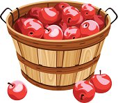 Vector illustration of wooden basket with red apples isolated on a white background.
