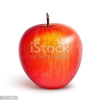 Red juicy apple, sweet summer fruit. Isolated on a white background. Vector illustration