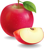 Red apples with green leaves and apple slice vector Illustration