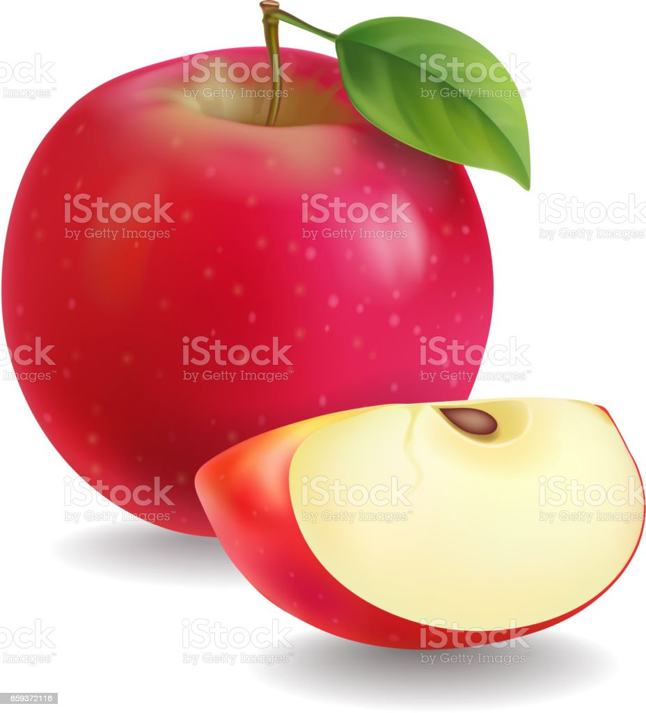 Red apples with green leaves and apple slice vector Illustration vector art illustration