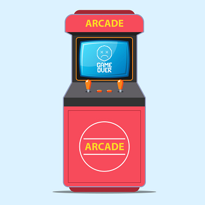 red arcade game machine. game over screen caption