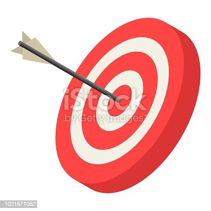 Red archery target icon. Isometric of red archery target vector icon for web design isolated on white background