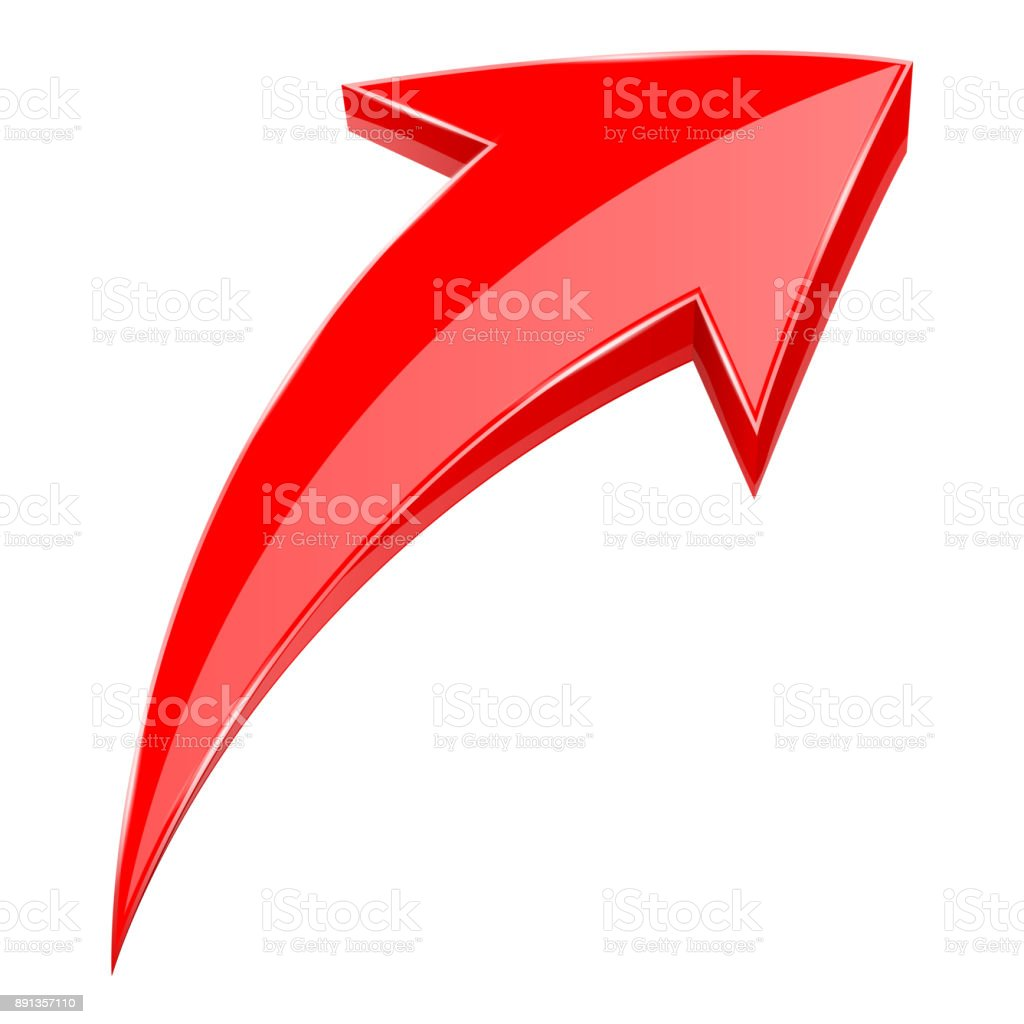 Red arrow. 3d shiny UP rising icon vector art illustration