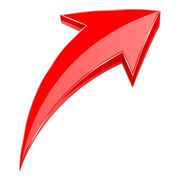 紅色箭頭。3d 閃亮上升圖示向量藝術插圖