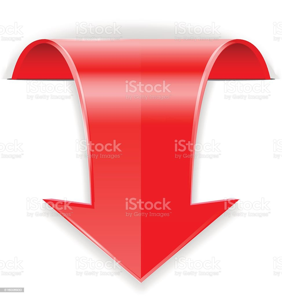 Red arrow.  Down sign vector art illustration