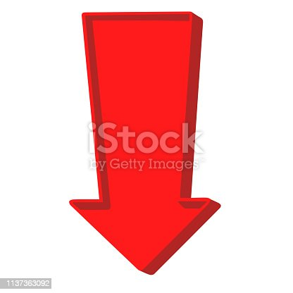 Red arrow pointing down on a white background.