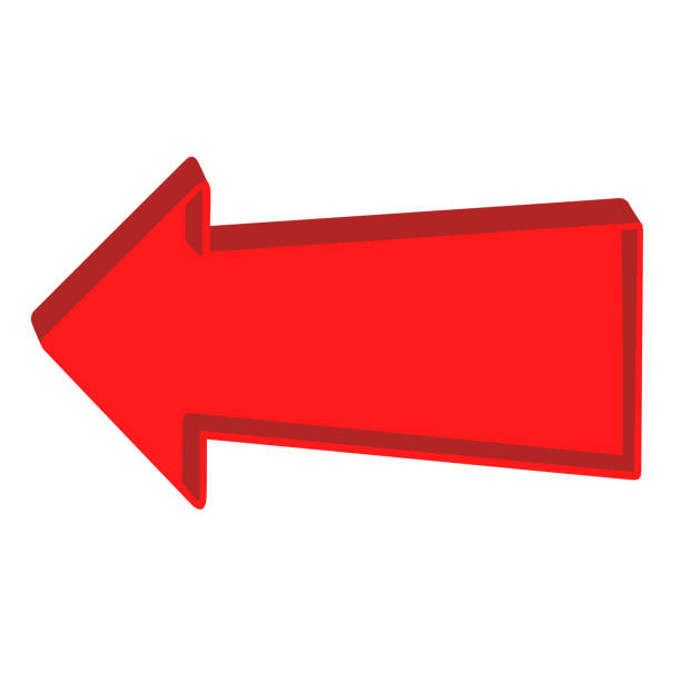 illustrazioni stock, clip art, cartoni animati e icone di tendenza di red arrow pointing left on a white background - mancino