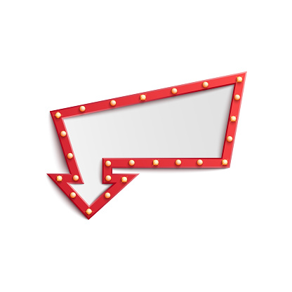 Red arrow sign lightbulb frame with small retro lights, casino show, circus or night club advertisement