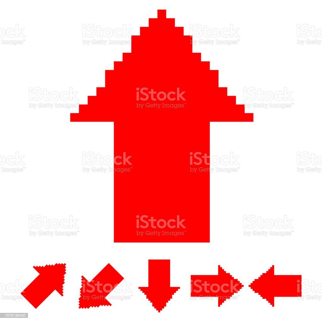 赤い矢印を下、左と右。ピクセル ベクトルの 8 ビット アイコンが白い背景で隔離の方向のセットを示します。 ベクターアートイラスト