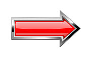 Red arrow with bold chrome frame. 3d shiny icon