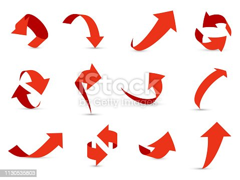 Red arrows 3d set. Financial arrow growth decline different info path up down next interface direction cursor vector collection