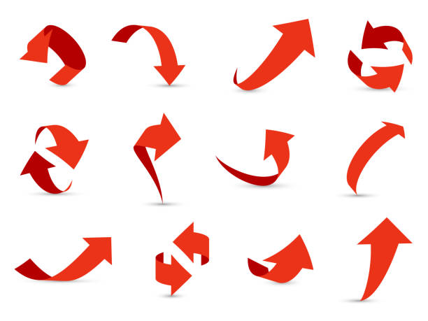 Red arrows 3d set. Financial arrow growth decline different info path up down next interface direction cursor vector collection Red arrows 3d set. Financial arrow growth decline different info path up down next interface direction cursor vector collection curve stock illustrations