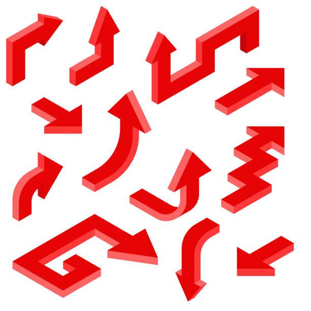 紅色箭頭。3d 圖示的等距集向量藝術插圖